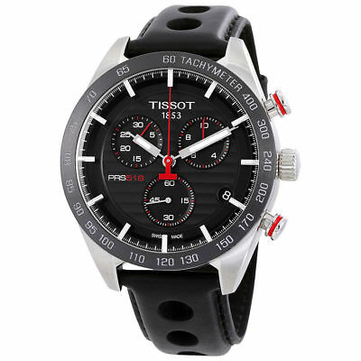 Tissot PRS 516 T1004171605100 Chronograph Black Leather 42mm Swiss Mens Watch