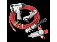 Sealey Air Tool Kit Package impact wrench Ratchet, Cut Off Tool Regulator Couplings Hose