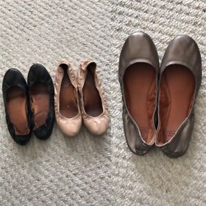 black, nude, silver - size 8 ballet flats
