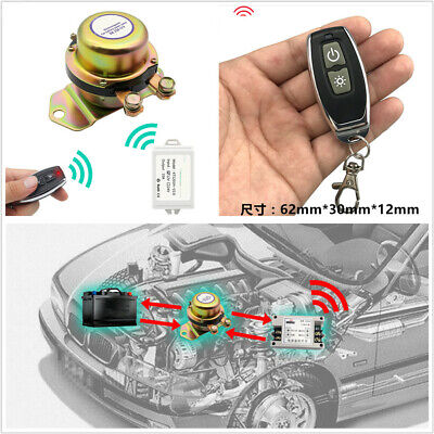 12V 40A Car Battery Solenoid Valve Disconnect Switch w/2Pcs Wireless Remote Set