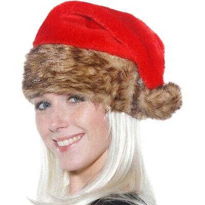 NIKOLAUS MÜTZE PLÜSCH Weihnachtsmann Bommelmütze deluxe mit Fell - Deluxe Santa Hut