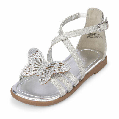 NWT The Childrens Place Toddler Girls Silver Glitter Butterfly Sandals Shoes Childrens Place Girls Glitter