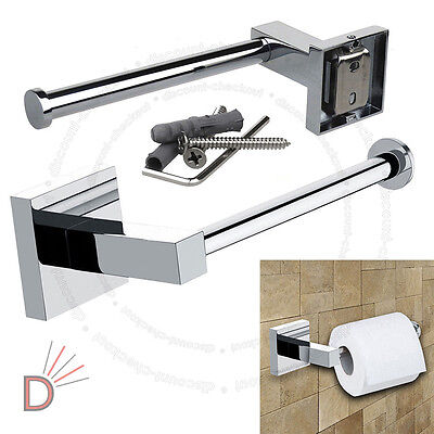 Bathroom Chrome Square Wall Mounted Toilet Roll Tissue Paper Holder UKDC
