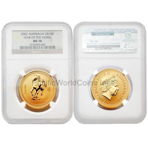 Australia 2002 Horse $100 1 oz Gold NGC MS70
