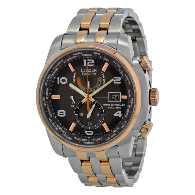 Citizen Eco Drive World Time Grey Dial Two-tone Mens Watch AT9016-56H-AU