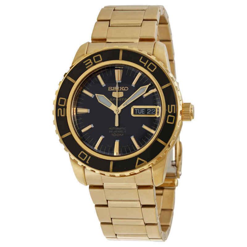Seiko-5-Automatic-Black-Dial-Gold-tone-Men-Watch-SNZH60