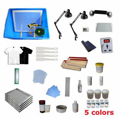 Diy Brand New 4 Color Screen Printing Equipments Materials Kit Free Shipping