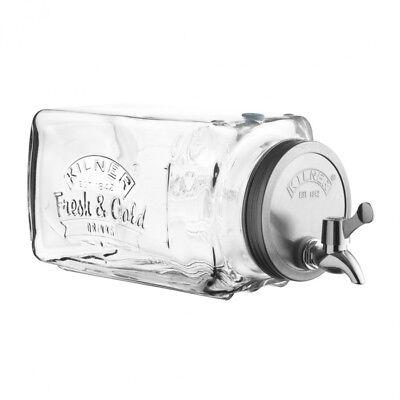 Kilner Large 3L Litre Glass Fridge Rack Table Drink Water Dispenser Jar Tap