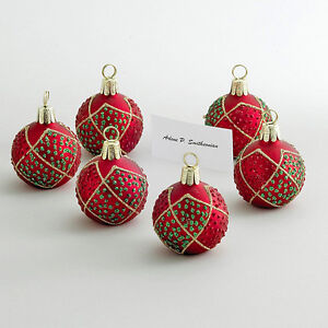 christmas decorations red ornament place card holder set of 6 placecard. Black Bedroom Furniture Sets. Home Design Ideas