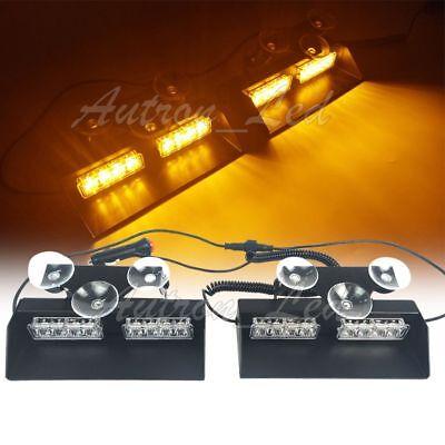 "Autron 16"" 16W LED Emergency Warning Dash Deck Strobe Amber Windshield Light Bar"