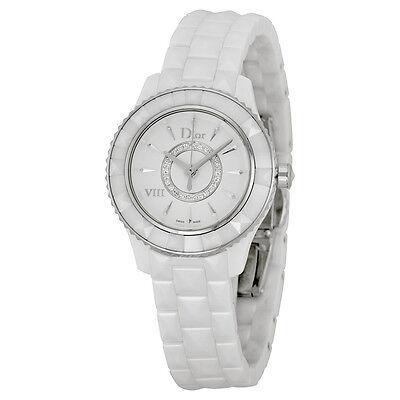 Dior VIII Diamond Silvered Dial White Ceramic Ladies Watch CD1221E2C001