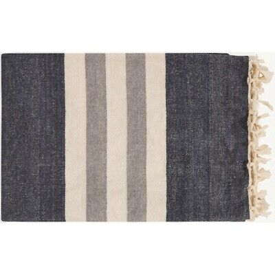 Troy by Surya Throw Blanket, Charcoal/Cream - TOY7000-5070