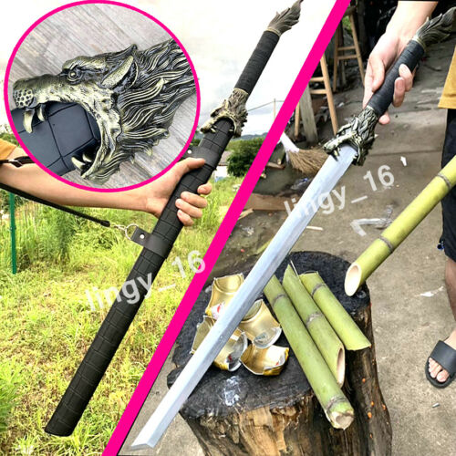 Wolf Head KungFu Dao Sword Katana Strong/Sharp Outdoors WuShu Battle Knife Saber