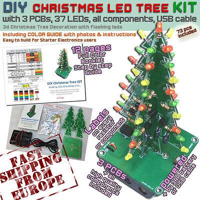 DIY Christmas LED 3d Tree KIT Flashing [Starter Electronics users]Ships from EU