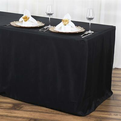 6 Ft. Fitted Polyester Table Cover Tablecloth Trade Show Booth Dj -black