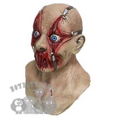 (Halloween Tortured Victim with Chest Horror Serial Killer Latex Prop Party Mask )