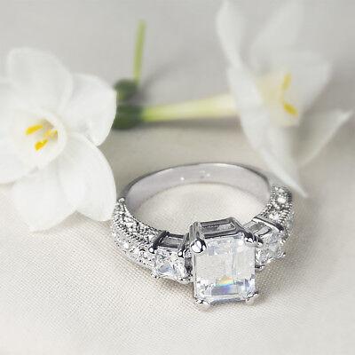 Womens 1.75 Ct EMERALD CUT Fashion Anniversary RING White Gold Plated Size 5-9 Diamond Emerald Fashion Ring