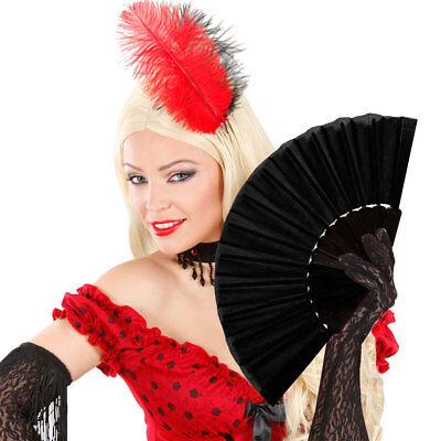 SCHWARZER SPANISCHER FÄCHER Karneval Flamenco Faltfächer Kostüm Party Deko 54851