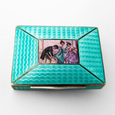 Guilloche Enamel Small Box Court Scene Austrian 800 Silver Gilt Interior 1900