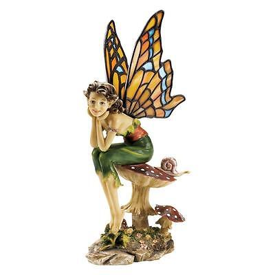 Wistful Wishing Mushroom Perch Fairy Pixie Copper Foiled Stained Glass Statue