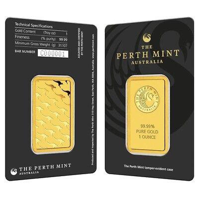 1 oz Perth Mint Gold Bar .9999 Fine (In Assay)