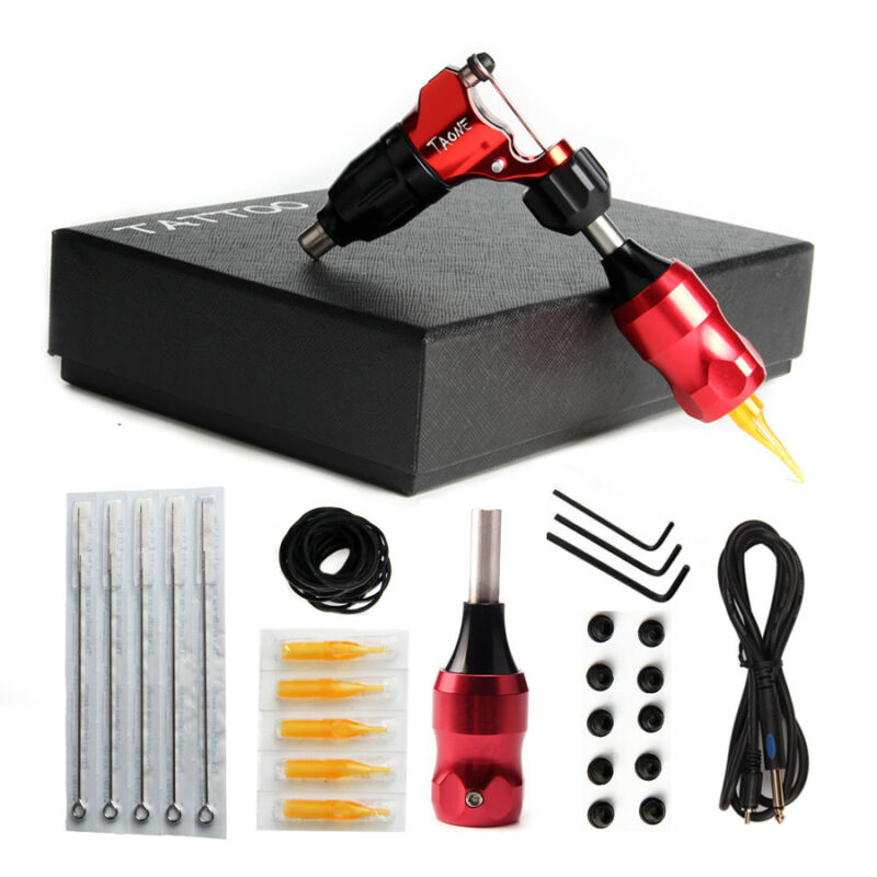 CNC  Aluminum Rotary Tattoo Machine Tattoo Gun Shader Liner With Cord Grip Red