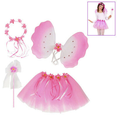 BLUMEN FEE KOSTÜM KINDER Dress-Up Set Elfen Kostüm Karneval Zubehör Flügel - Kinder Kostüm Dressup