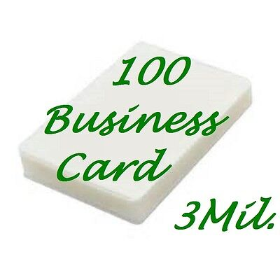 100 Business Card Laminating Pouches Laminator Sleeves 2-14 X 3-34 3 Mil Gloss
