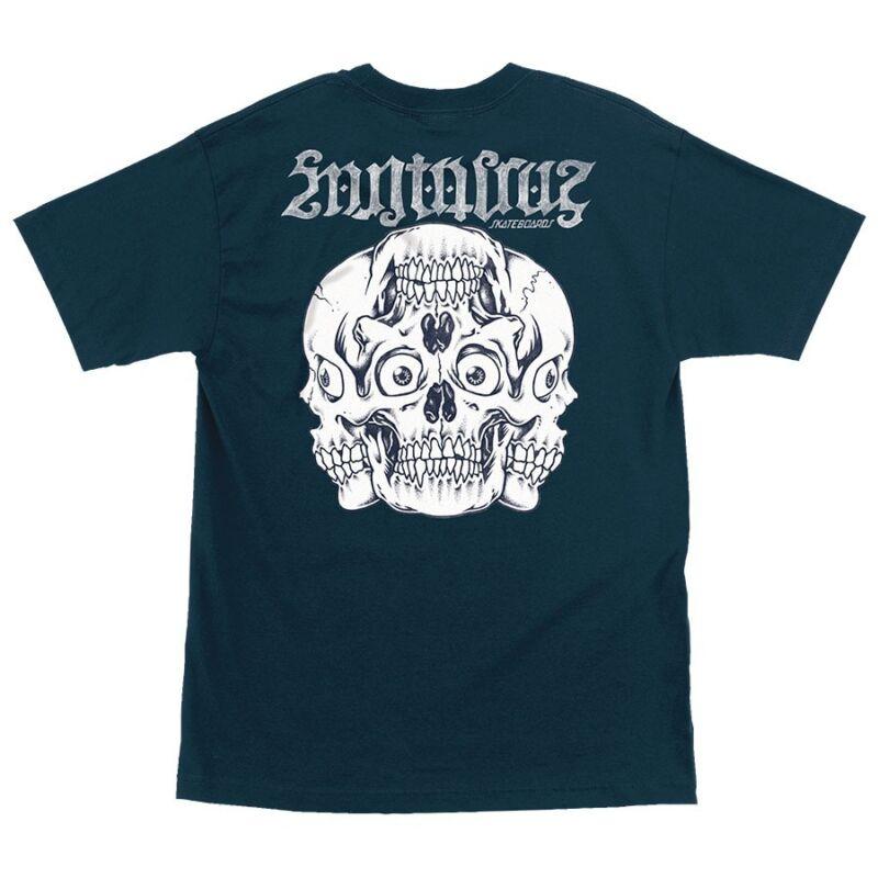 Santa Cruz REVERSE SKULL Skateboard T Shirt HARBOR BLUE MEDIUM