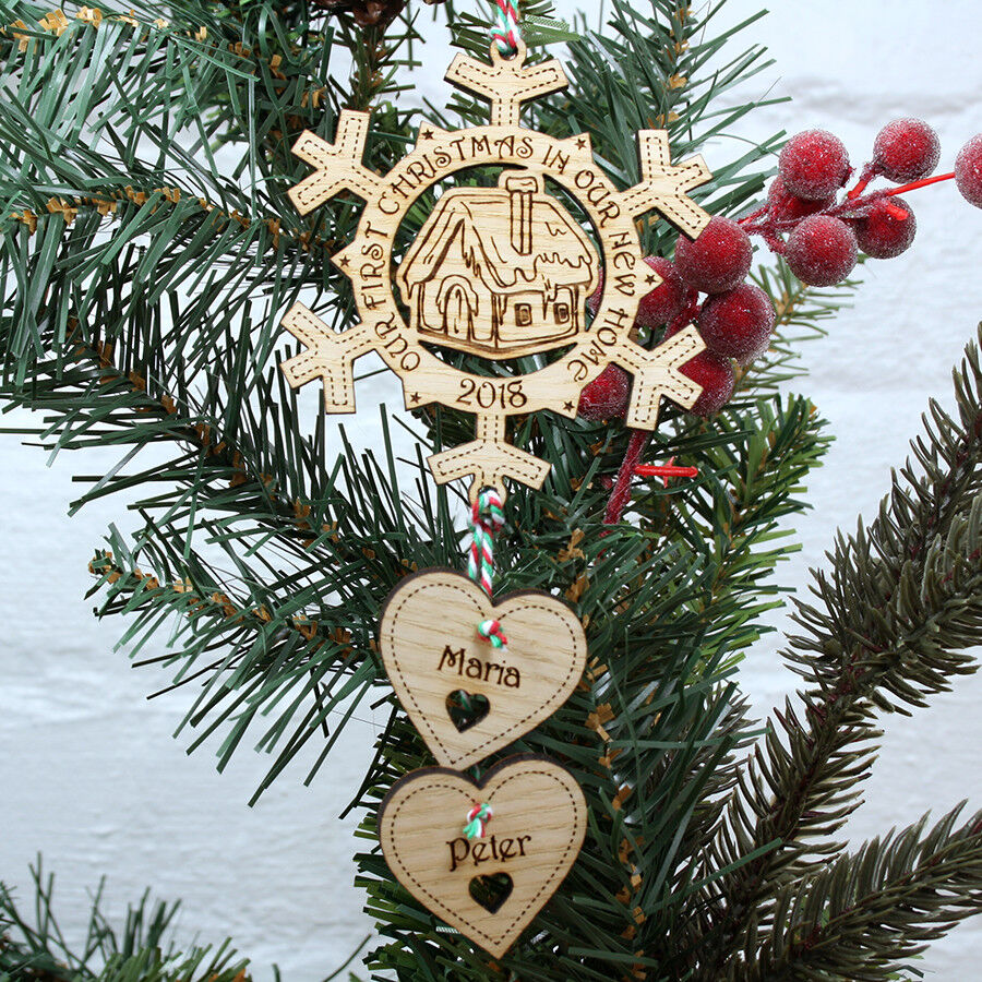 First Christmas In Our New Home 2019.Details About Personalised First 1st Christmas In Our Your New Home Tree Decoration Bauble