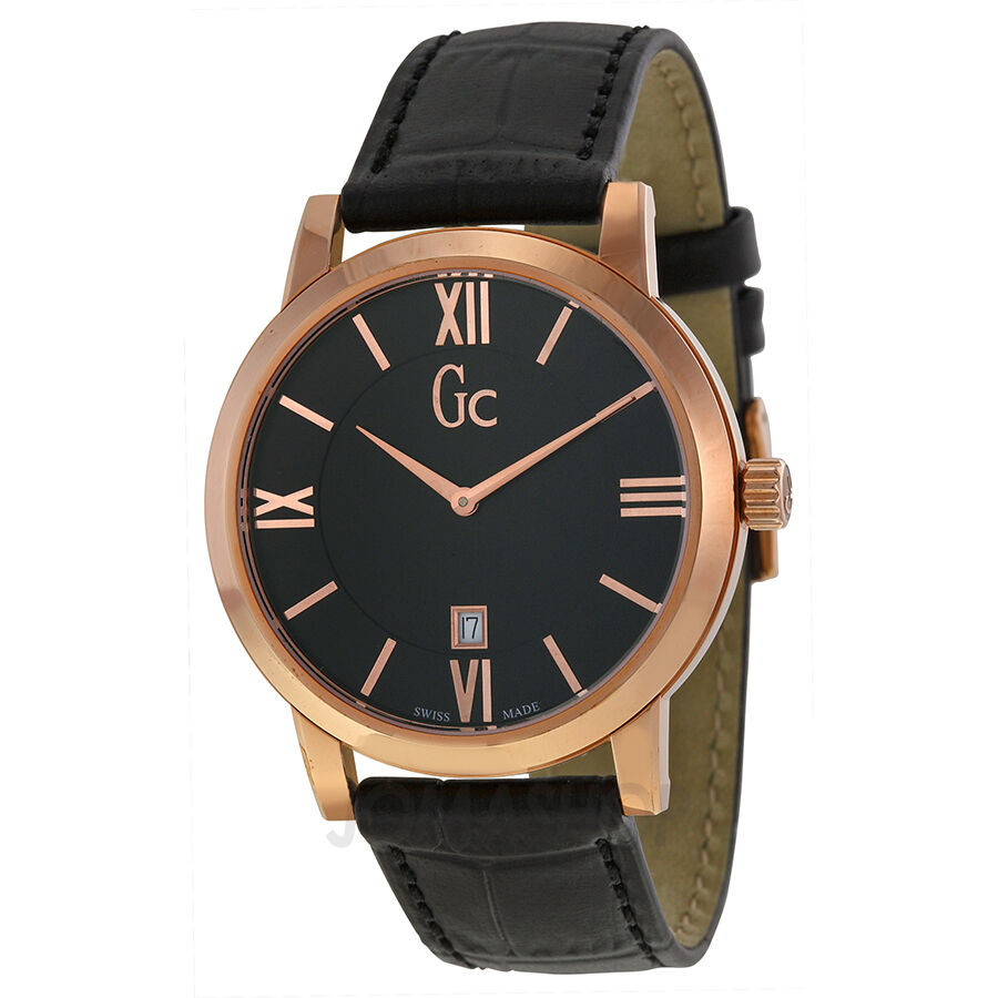 new guess collection gc men 039 s watch slim rose gold black details about new guess collection gc men s watch slim rose gold black leather strap x60005g2s