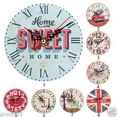 Vintage Style Non-Ticking Silent Antique Wood Wall Clock Living Room Decoration