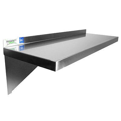 16 Gauge Nsf Restaurant Stainless Steel 12 X 72 Solid Wall Shelf 600ws1272hd