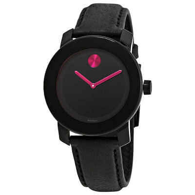 Movado Bold Black Dial Pink Accents Ladies Watch 3600482