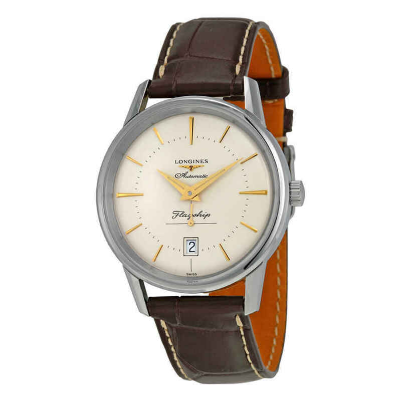Longines Heritage Flagship Automatic Silver Dial Brown Leather Men Watch