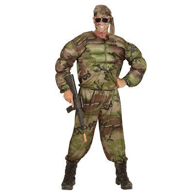 (B-W) SOLDATEN MUSKEL KOSTÜM # Karneval Herren US Army Armee Tarnanzug XL (Armee Kostüme Herren)