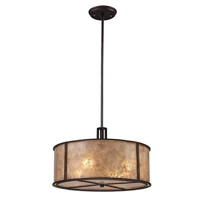 ELK Lighting Barringer 4-Light Chandelier, Aged Bronze/Tan Mica Shade - 15032-4 Aged Bronze Elk Lighting