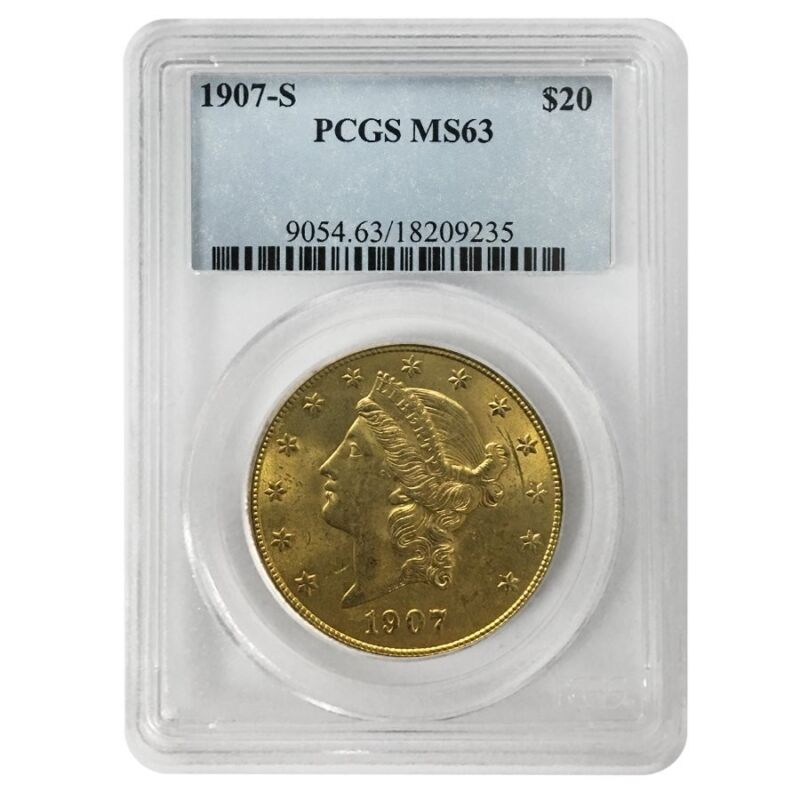 1907 S $20 Liberty Head Double Eagle Gold Coin Pcgs Ms 63