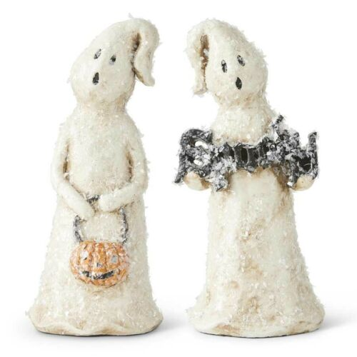 2 pc 7.75 Inch Glitter Halloween Ghosts K & K Interiors Holiday/Fall/Halloween