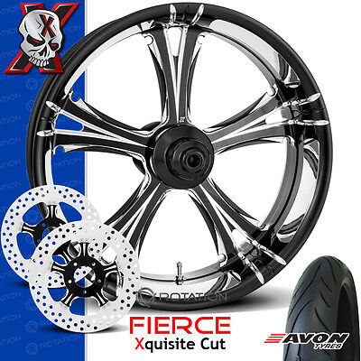 """Xtreme Machine Fierce Xquisite Cut Motorcycle Wheel Front Package Harley 23"""" PM"""