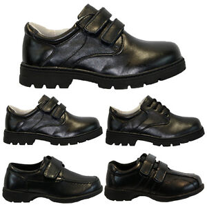 BOYS-BLACK-SHOES-KIDS-INFANT-VELCRO-LACE-SKATE-TRAINERS-BACK-TO-SCHOOL-SIZE