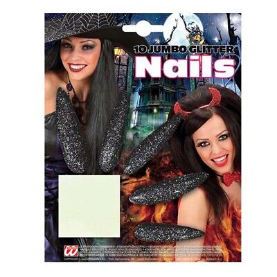 SCHWARZE XL GLITZER FINGERNÄGEL Halloween Nägel Hexen Damen Kostüm Make up 3052 (Make Up Halloween)