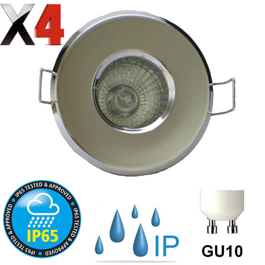 4 X BATHROOM IP65 GU10 DOWNLIGHT POLISHED CHROME ENSUITE ...