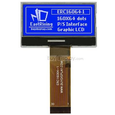 Blue 2160x64 Graphic Cog Lcd Module Displayparallelspi Seriali2c Wtutorial