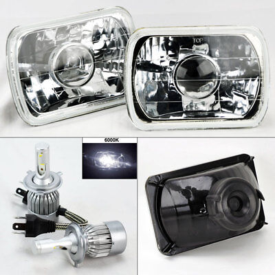 "7X6"" Clear Glass Projector Headlight Conversion w/ 6000K 36W LED H4 Bulbs Chevy"