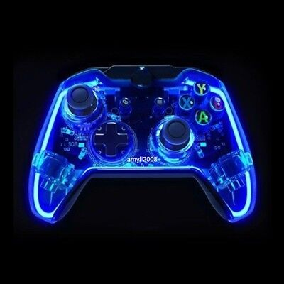 Glow Blue USB Wired Controller Gamepad Joystick For Xbox One/ One S/ Win 7 8 10 (Glow Controller)