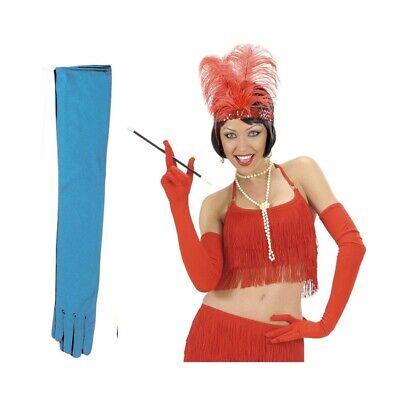 LANGE HANDSCHUHE TÜRKIS 60cm Damen Kostüm Party Zubehör Farbige bunte blau 3422