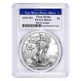Sale Price - 2018 (W) 1 oz Silver American Eagle Coin PCGS MS 69 FS West Point