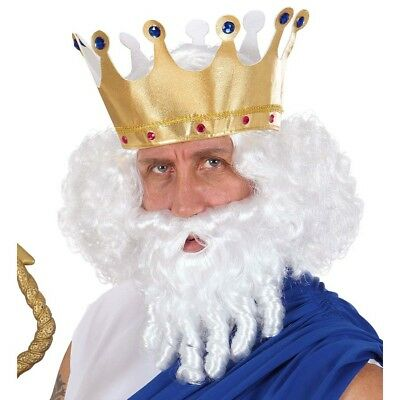 WEIßE NEPTUN HERREN PERÜCKE & BART # Poseidon Zeus Griechischer Gott Kostüm 6559 (Zeus Griechische Kostüm)