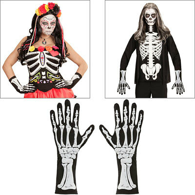 SKELETT HANDSCHUHE SCHWARZ Sensenmann Knochen Gerippe Tod Kostüm Halloween 01088 (Skelett Handschuhe Knochen)